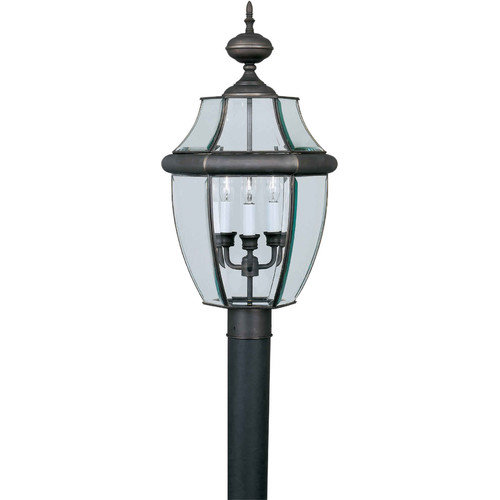 Forte Lighting Outdoor 3 Light 12'' Brass Post Lantern