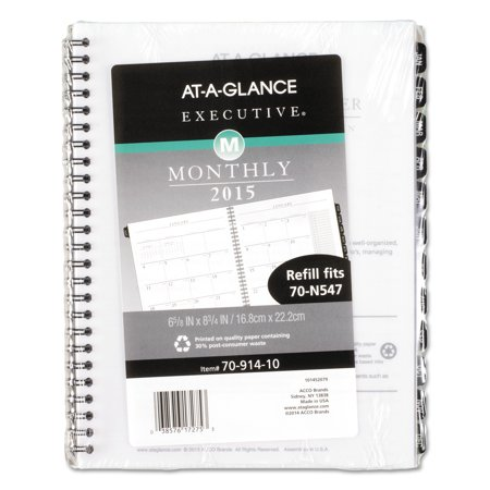 AT-A-GLANCE Executive Monthly Planner Refill, 6 5/8 x 8 3/4, White, 2018