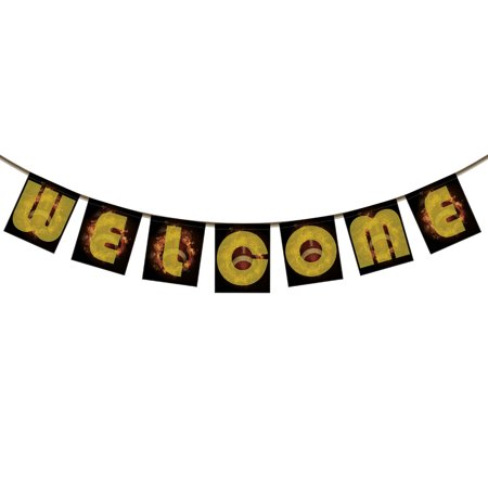 YKCG Welcome Banner Bunting for Family Party Decoration Photo Props, Spirit of Flaming American Football Background Spray color Banner Garland Flag](Football Door Decorations)