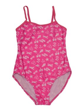 ea7bd3b5960 Product Image Starfish Big Girls Pink Travel Icons Print One Piece Trendy  Swimsuit