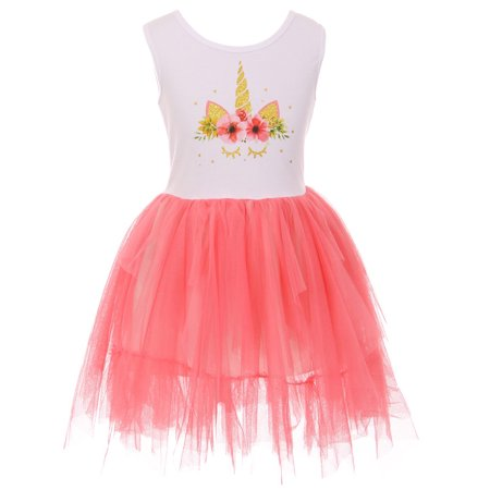 Toddler Girls Sleeveless Unicorn Tutu Tulle Birthday Party Flower Girl Dress Coral 2T XS (P501354P) - Party Dresses For Girls 7 14