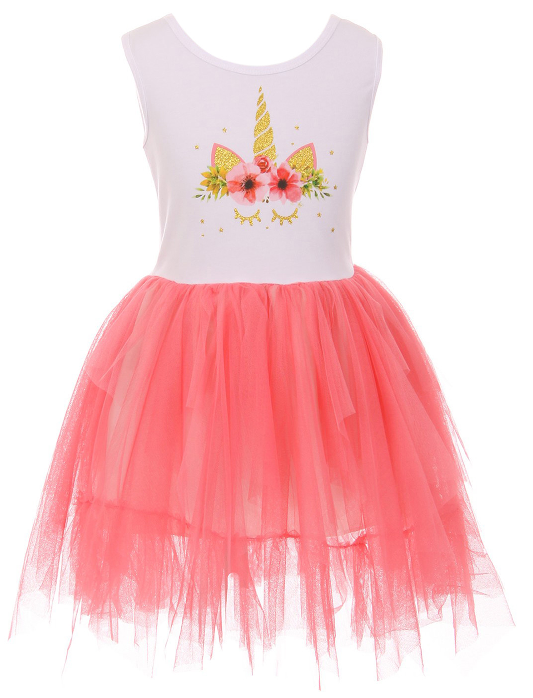 Toddler Girls Sleeveless Unicorn Tutu Tulle Birthday Party Flower Girl Dress Coral 2T XS (P501354P)