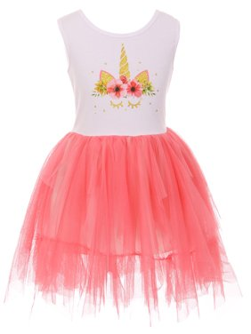 8ee9dd528b Product Image Toddler Girls Sleeveless Unicorn Tutu Tulle Birthday Party  Flower Girl Dress Coral 2T XS (P501354P