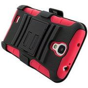 Premium Hybrid Dual Layer Armor Case with Holster for Samsung GALAXY S4 R970C I9500, Samsung GALAXY S4 L720, Samsung GALAXY S4 I545 - Black/ Red