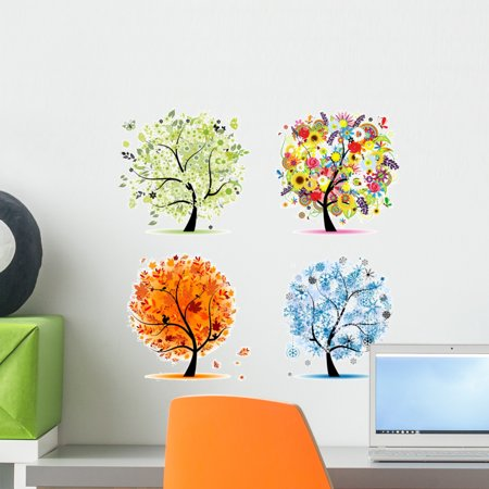 Spring Summer Autumn Winter Wall Decal by Wallmonkeys Peel and Stick Graphic (18 in H x 18 in W) WM31201 (Winter Decal Set)