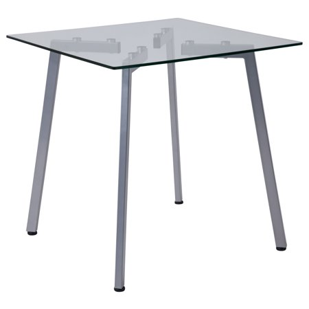 Flash Furniture Roxbury Collection Gl End Table With Silver Metal Legs
