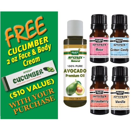 Avocado Oil 8 Oz, Strawberry, Vanilla, Rose & Cotton Candy 10 mL Each - Fragrance Oils and Carrier Oil Combo - Fragrance Skincare Kit 2 - with FREE Cucumber Face & Body Nourishing Cream by