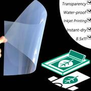 "8.5""x11"",100 sheets,Silk Screen Printing Waterproof Inkjet Transparent Film Paper"