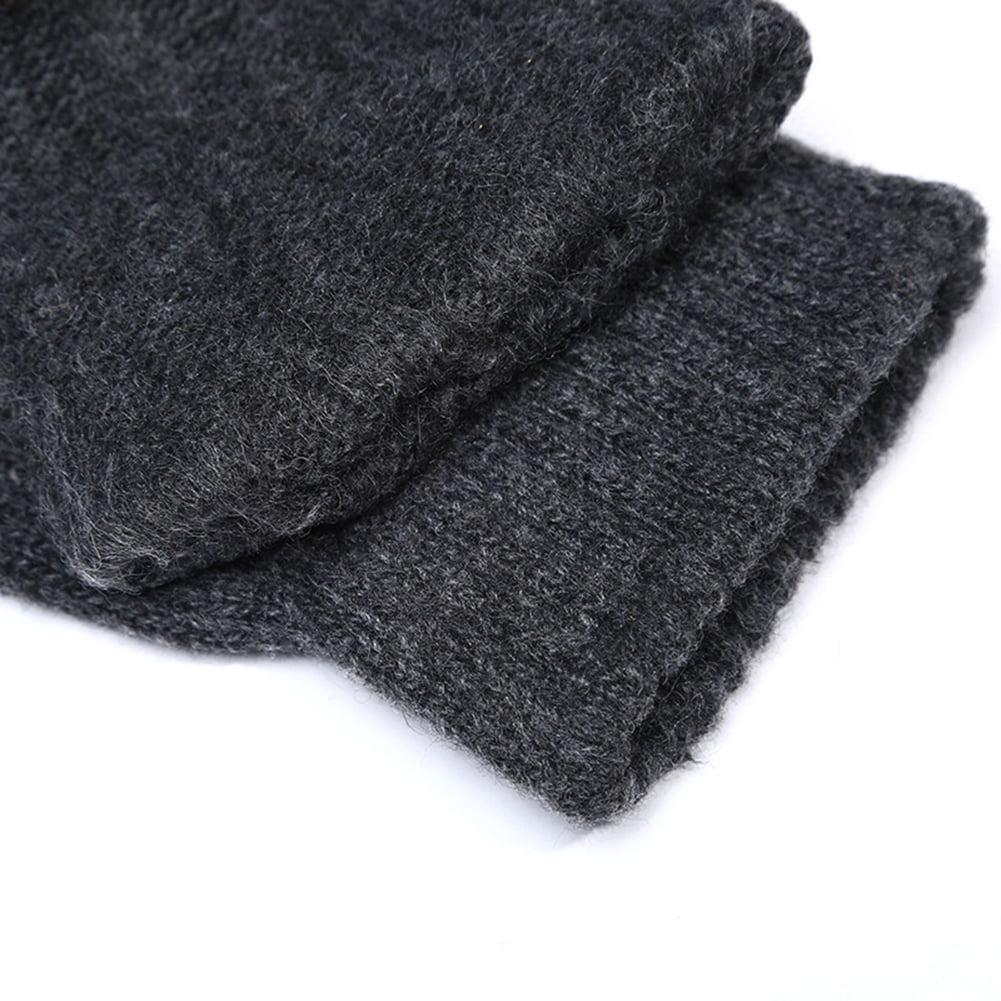 Men/'s Winter Fingerless Half Finger Mittens Soft Warm Knitted Wool Riding Gloves