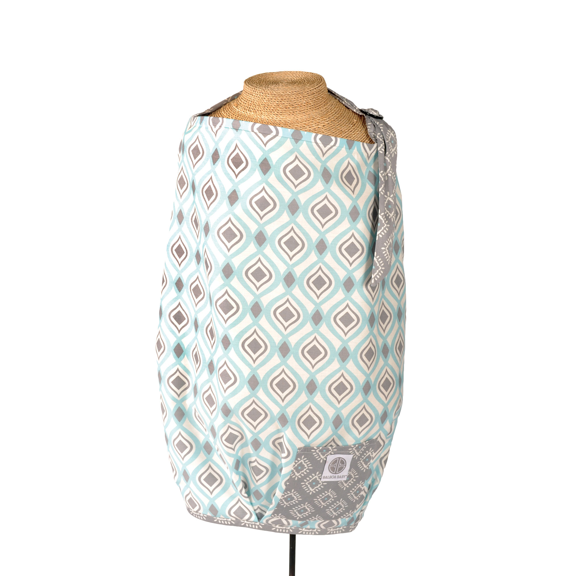 Balboa Baby Nursing Cover 100% Cotton - Boheme Aqua Blue and Grey Contoured Design - Dr. Sears Recommended