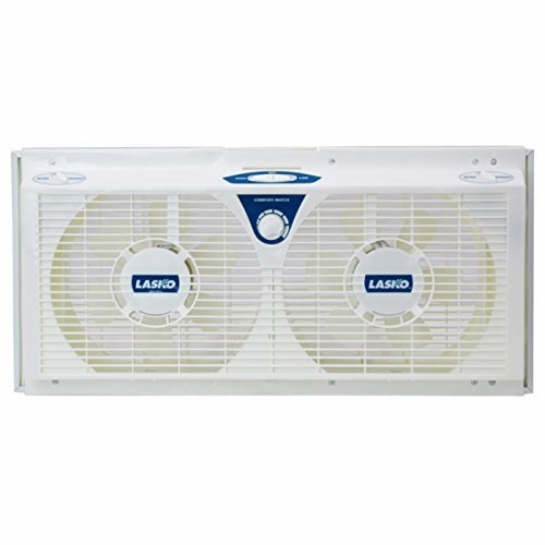 "lasko 8"" reversible twin window fan with all new comfort watch thermostat included"
