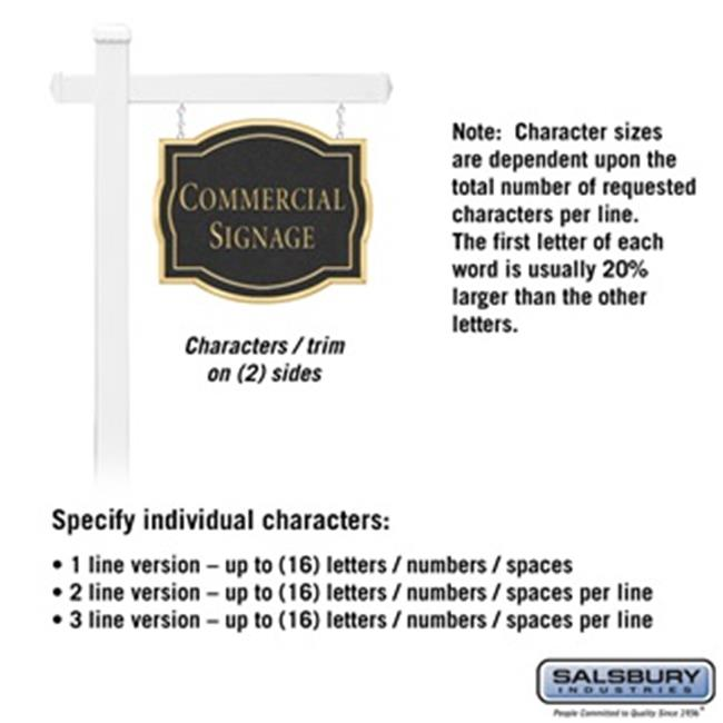 Salsbury 1541BGN2 2 Sided Classic White Post Commercial Sign with Gold Characters, Black Sign - No Emblem - image 1 de 1