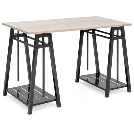 Best Choice Products Multipurpose Adjustable Height Sit to Stand Home Office Desk with Reclaimed Wood Finish, Steel Frame, Shelves, Brown Adjustable Height Office Metal