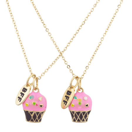Lux Accessories Gold Tone Pink Cupcakes BFF Best Friends Necklace Set (2PCS) - Cupcake Jewelry