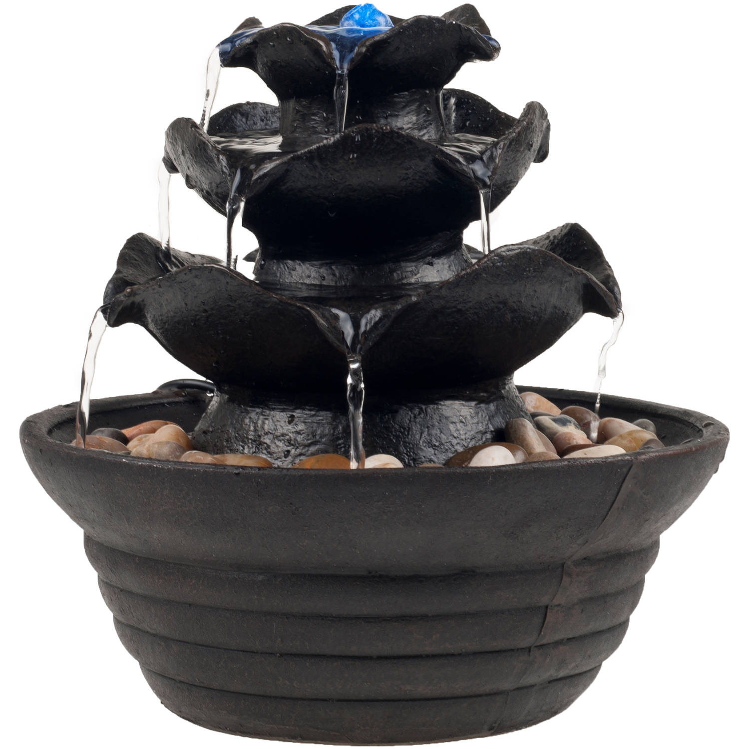 indoor water fountain with led lights lighted three tier soothing cascading tabletop fountain with rocks for office and home decor by pure garden