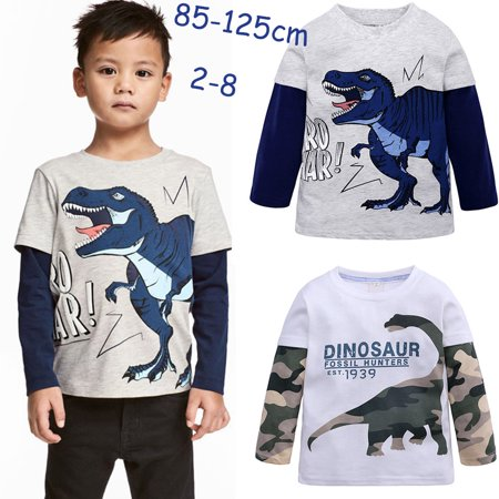 Kids Boys Cartoon Dinosaur Pattern Printing Cotton Long Sleeve T-shirt Camouflage dinosaur 2