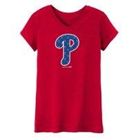 MLB Philadelphia PHILLIES TEE Short Sleeve Girls 50% Cotton 50% Polyester Team Color 7 - 16