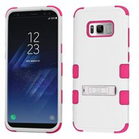 Kaleidio Case For Samsung Galaxy S8 G950 [Natural TUFF] 3-Piece Hard Impact [Shock Absorbing][Kickstand]Hybrid Rubber Cover w/ Overbrawn Prying Tool [White/Pink]