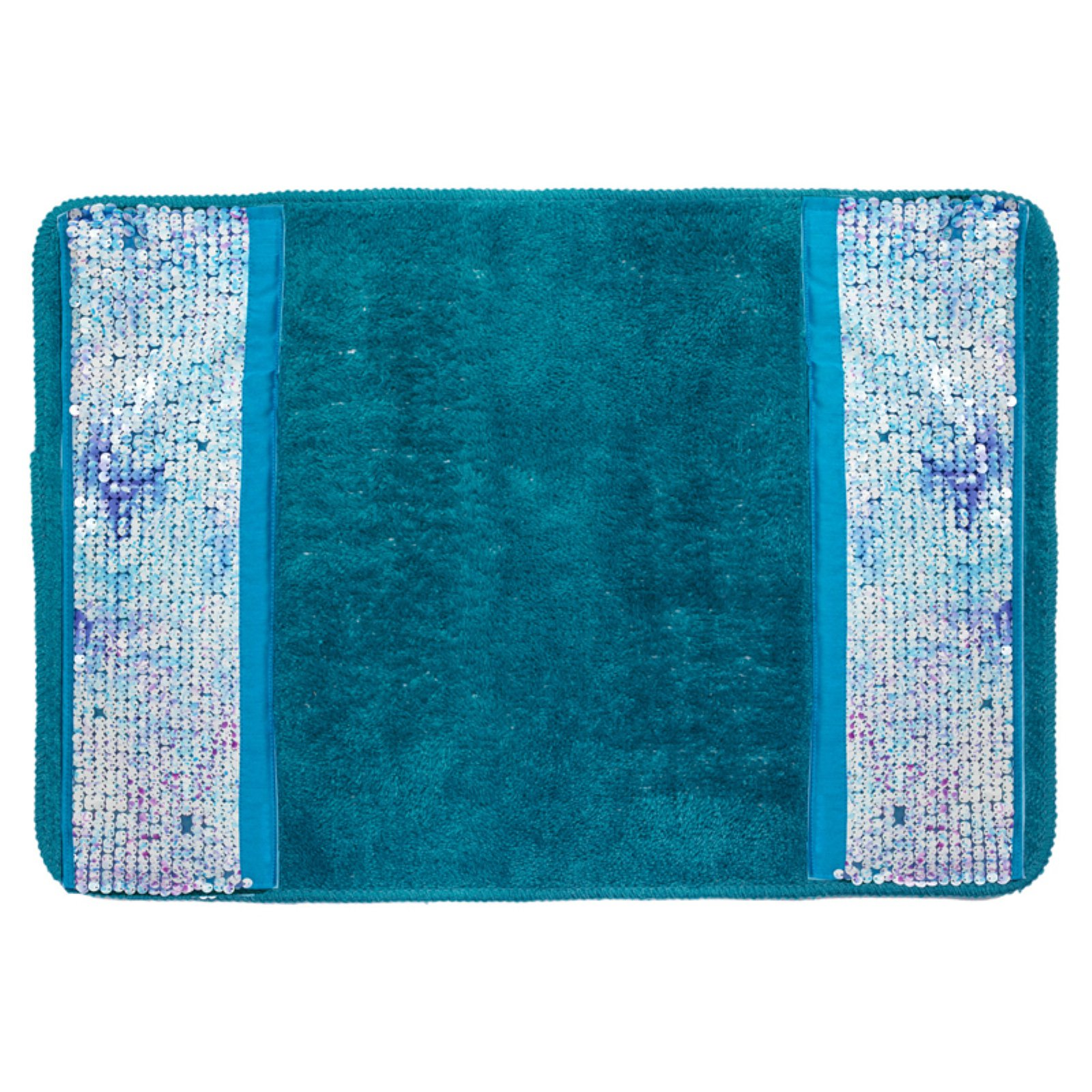 Sweet Home Collection Tammi Aqua Banded Bathroom Rug by Popular Bath Products