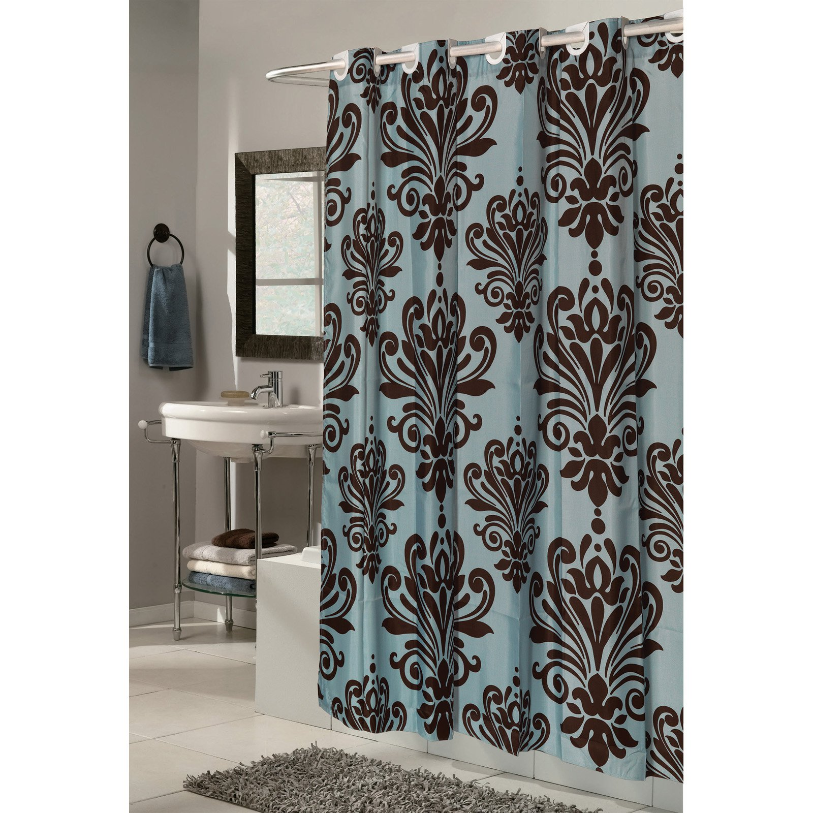 "EZ-ON? ""Beacon Hill"" Polyester Shower Curtain in Chocolate on Spa Blue"