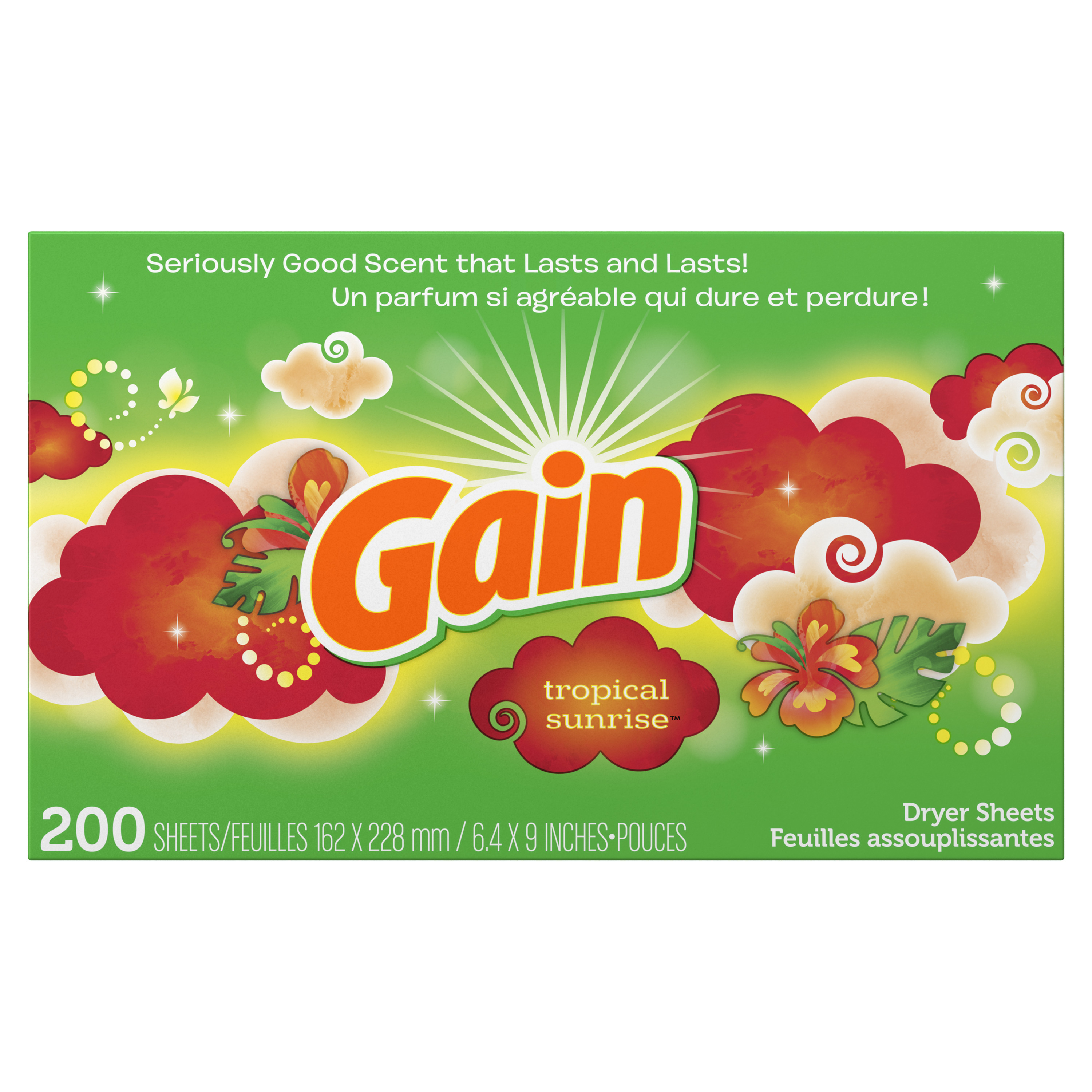(2 pack) Gain Dryer Sheets, Tropical Sunrise, 200 Count