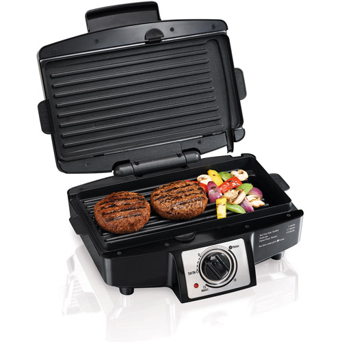 "Hamilton Beach 4 Burger 110"" Grill with Removable Grids 