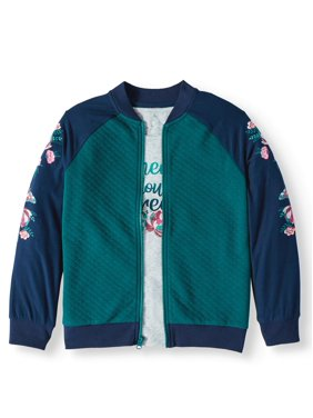 Wonder Nation Knit Bomber Jacket and Graphic T-Shirt, 2-Piece (Little Girls, Big Girls & Plus)