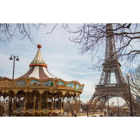 Eiffel Tower Carousel Merry Go Round Paris France Photo Art Print Poster 18x12 inch