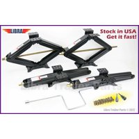 "Set of 4 LIBRA 5,000 lb 24"" RV Trailer Stabilizer Leveling Scissor Jacks w/handle, Dual Power Drill Sockets & Mounting Screwss"