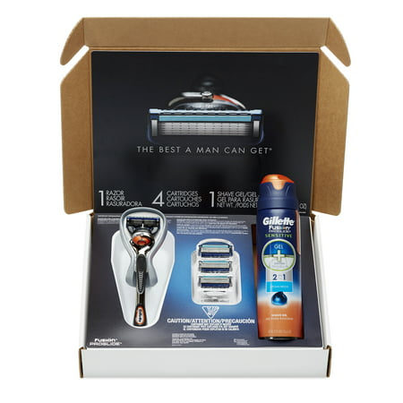 Gillette  Fusion  Proglide  Bundle With 4 Proglide Razor Blade Refills   1 Proglide Handle With Flexball Technology   Proglide Sensitive Shave Gel 6Oz  1 Kit