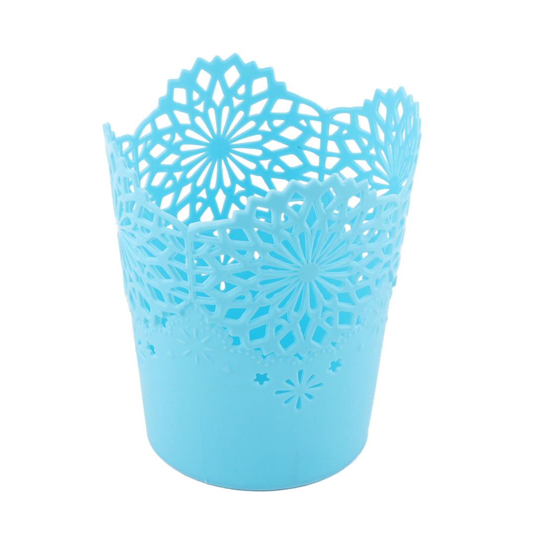 Home Office Hollow Out Seedcase Waste Paper Trash Bin Garbage Can Blue