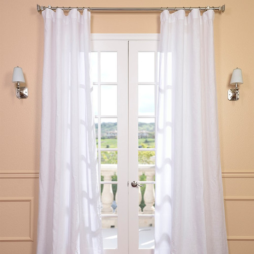 Half Price Drapes Signature Lace French Linen Pleated Semi-Opaque Single Curtain Panel