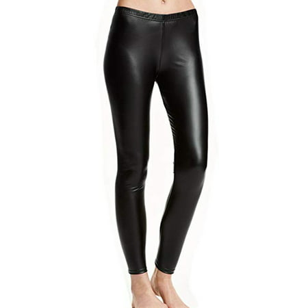 SAYFUT Women Girls Faux Leather Leggings Warm Pants Slim Tight Stretch Velvet Trouser Black S-4XL