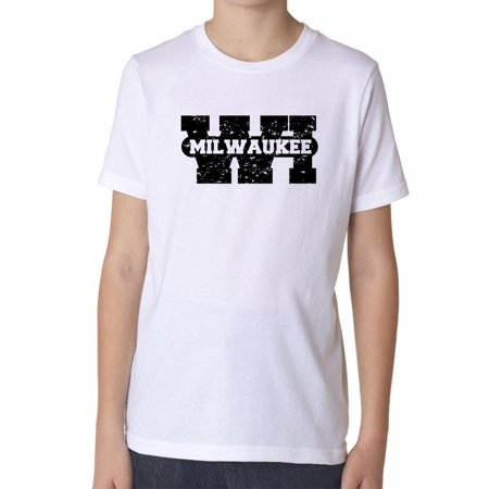 Milwaukee, Wisconsin WI Classic City State Sign Boy's Cotton Youth T-Shirt (Party City Milwaukee Wi)