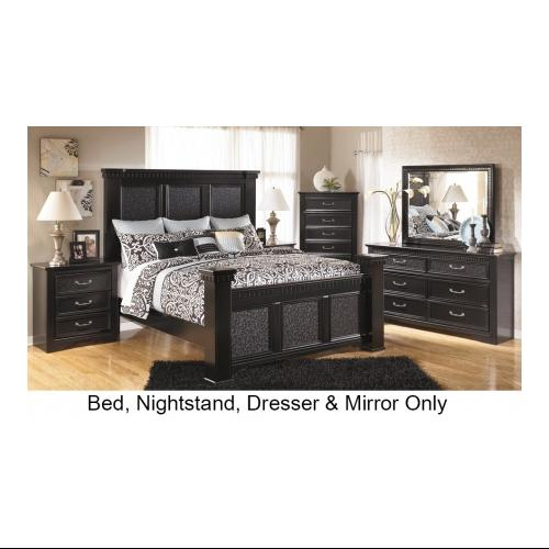 Ashley  Cavallino B29115816699313592 4-Piece Bedroom Set with King Size Mansion Bed  Dresser  Mirror and Nightstand in