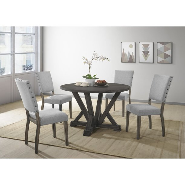 Best Master Furniture Anna 5 Pcs Antique Grey Dinette Set