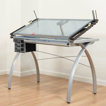 Futura Craft Station Work Table with Adjustable Safety Glass Top