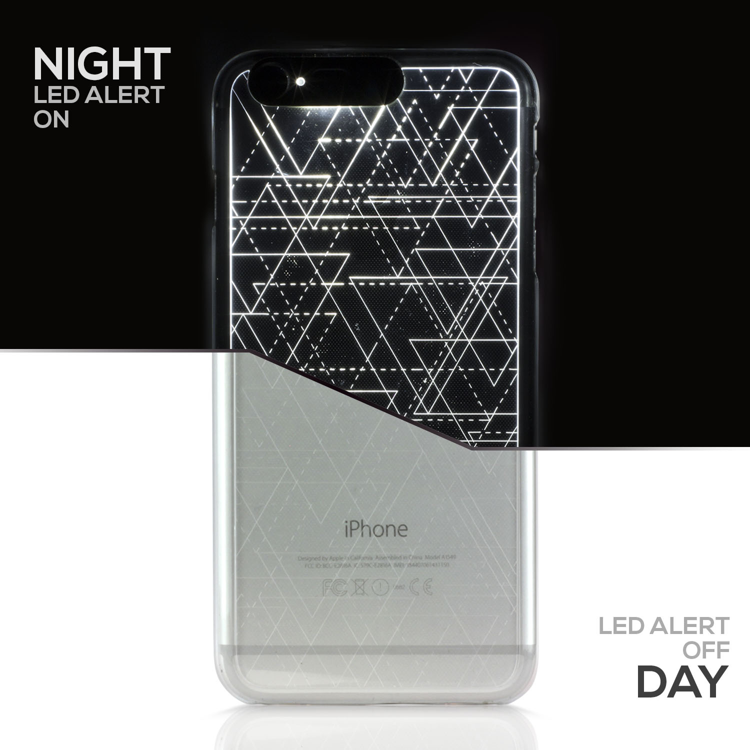 "SOJITEK Iphone 6 6S PLUS (5.5"") Silver Twinkling Light Clear Case w/ Triangle Pattern (Patent Pending Twinkling Light Technolgy using LED Flash Alerts)"