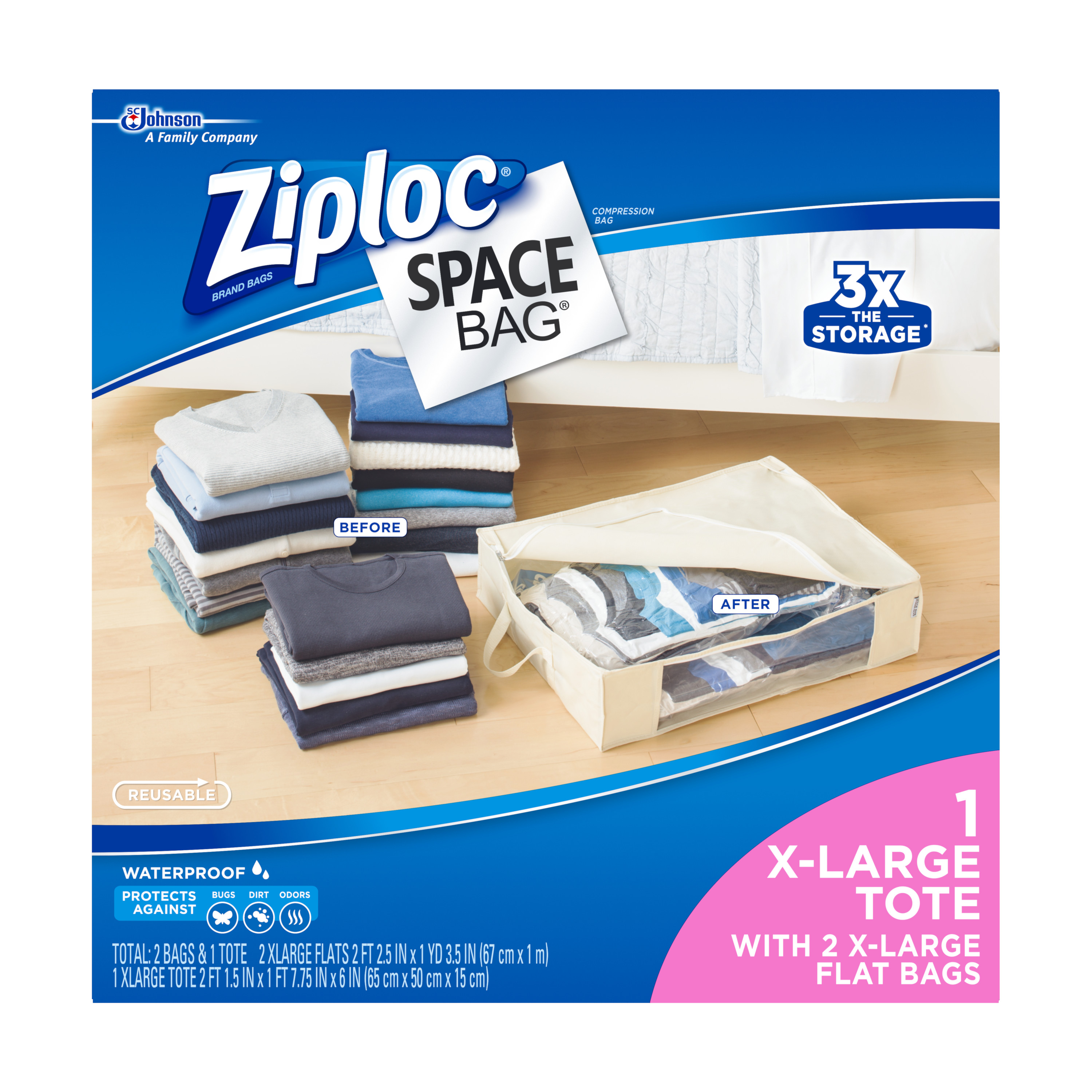 Ziploc Space Bag 3 count Variety Pack (2 XL Flat, 1 XL Tote)