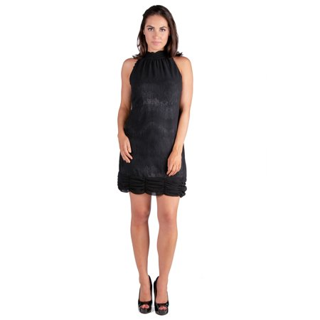 24seven Comfort Apparel Ruched Halter Neckline Little Black (Macys Little Black Dress)