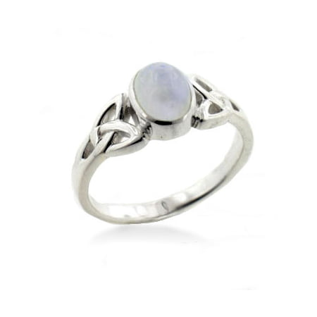 - Sterling Silver Celtic Knot and Genuine Rainbow Moonstone Ring