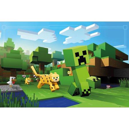 Minecraft Ocelot Chase Laminated Poster (24 x - Minecraft Ocelot