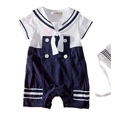 196eeb0b2098a StylesILove - StylesILove Baby Boys Sailor Romper Onesie with Hat 2-piece  Suit (2-3 Years