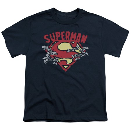 Superman Men's  Chain Breaking T-shirt Navy