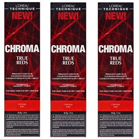 L'Oreal True Reds Chroma Ruby Permanent Hair Color Tint HC-22914 (3 Pack)
