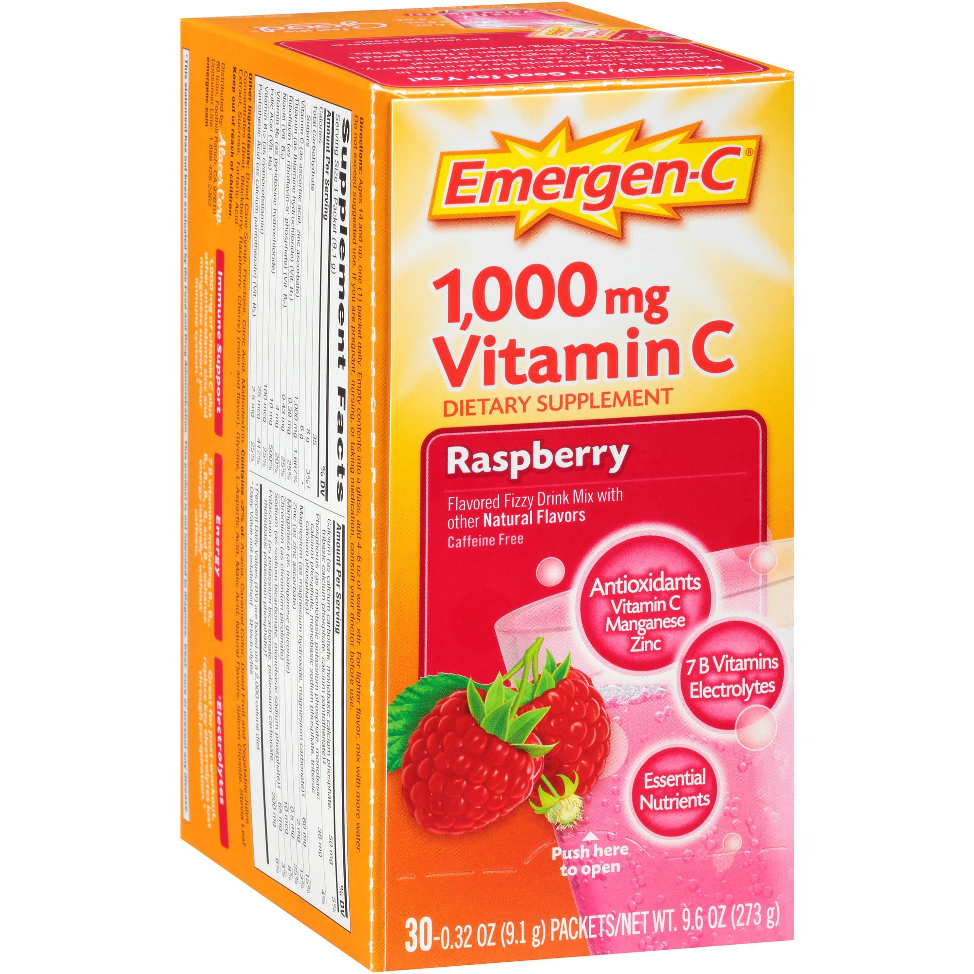 Emergen-C Dietary Supplement in Raspberry Flavor 30 Count