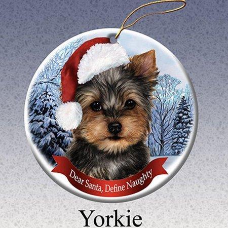 Yorkie Teacup Ornament - Dog in Santa Hat Porcelain Hanging Howliday Ornament (Yorkie)