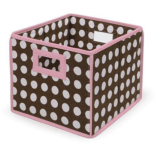Badger Basket - Folding Hamper/Storage Bin, Brown Polka Dots with Pink Trim