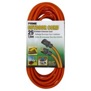 Prime Wire 25-Foot 16/3 SJTW Medium Duty Extension Cord, Orange