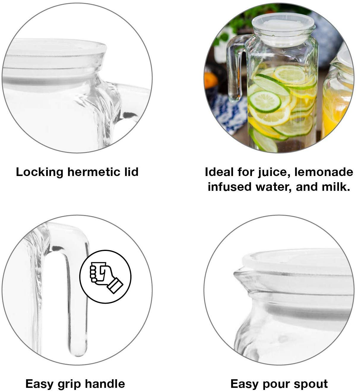 Smoothies Milk and Party EVERBUY Pack of 4-1.8L Plastic Fridge Door Water Jug Plastic Pitcher Container with Lid and Pouring Spout Ideal for Juices